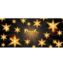 Celebration party banner with golden stars vector