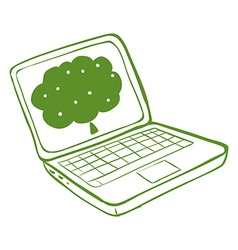A green laptop with an image of a tree vector image