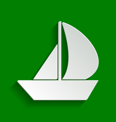 Sail boat sign paper whitish icon with vector