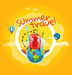 vacation travelling concept with the handbag vector image