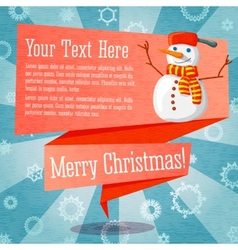 Merry christmas cute retro banner on the craft vector