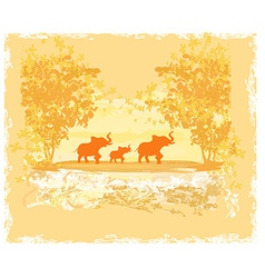 Grunge background with elephant family vector
