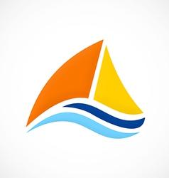 Yacht sailing boat ocean logo vector