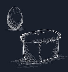 Hand Drawn Bread and Egg vector image