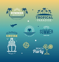 Set of design elements retro summer holidays vector
