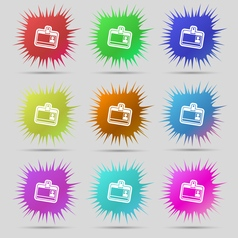 Id card icon sign a set of nine original needle vector