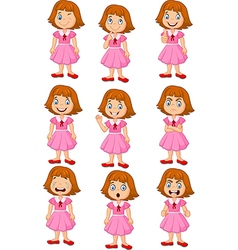 Little girl in various expression isolated vector