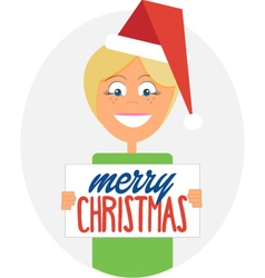 Happy girl holding merry christmas sign vector