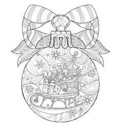 Hand drawn christmas glass ball doodle sketch vector