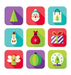 Happy new year merry christmas square app icons vector
