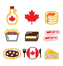 Canadian food icons - maple syrup poutine nanaim vector