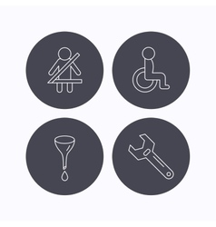 Seat belt oil change and wrench tool icons vector