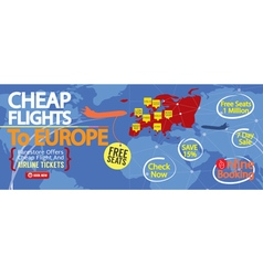 Cheap flight to europe 1500x600 banner vector
