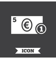 Cash sign icon euro money symbol coin vector