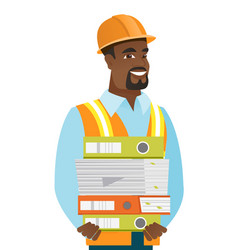 African-american builder holding pile of folders vector