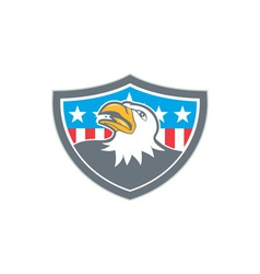 American Bald Eagle Head Flag Shield Cartoon vector image vector image