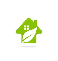 Arrow leaf home logo vector