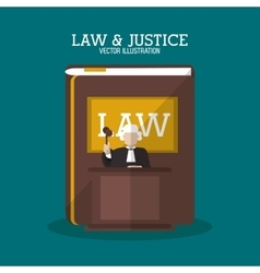 Book and judge of law and justice design vector
