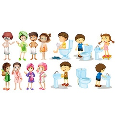 Boys and girls in bathrobe vector image vector image
