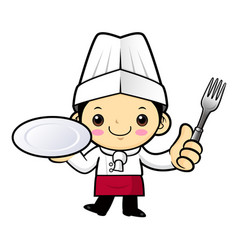 Chef character is holding a plate and a fork vector