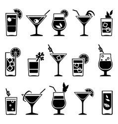 Cocktails and drinks black icons vector