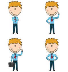 Cute and funny cartoon businessmen vector image vector image