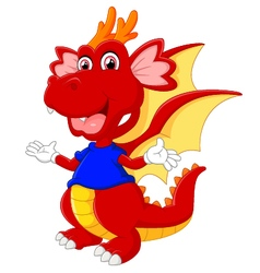 Cute cartoon baby dragon vector