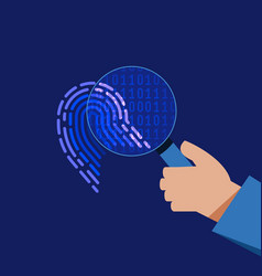 cyber security digital binary fingerprint flat vector image