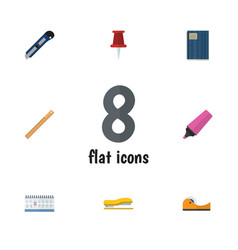 Flat icon equipment set of date block pushpin vector