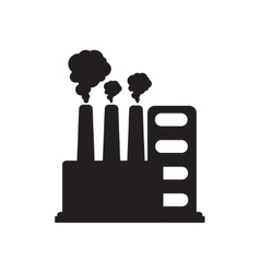 Flat icon in black and white factory vector