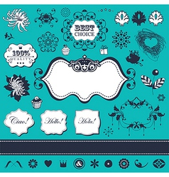 Floral elements and frames vector image vector image