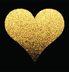 Gold sparkle heart background vector
