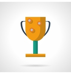 Golden winners cup flat color icon vector image vector image