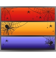 Halloween banners with spider and spiderweb vector image vector image