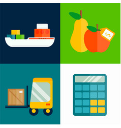 Import export fruits transport vector