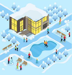 isometric family on winter holidays template vector image vector image