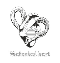mechanical heart lineart vector image vector image