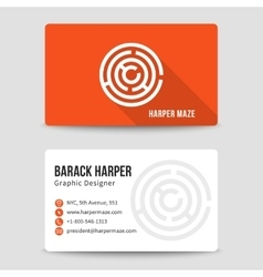 Modern business card template with maze vector