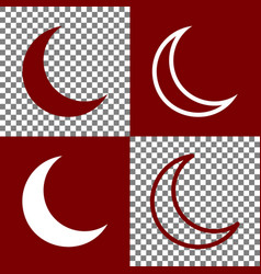 Moon sign bordo and white vector