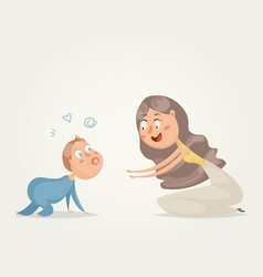 mother with baby funny cartoon characters vector image vector image