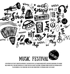 Music elements grunge musical background vector