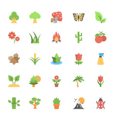 Nature and ecology flat colored icons 1 vector