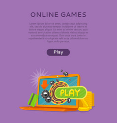 online games web banner isolated with play button vector image vector image