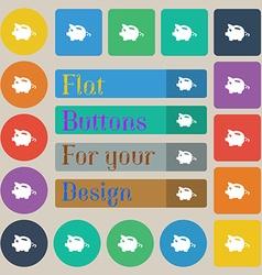 Piggy bank icon sign set of twenty colored flat vector