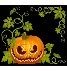 Pumpkin jack vintage corner isolated on black vector