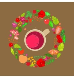 red tea cups on top in a frame of vector image vector image