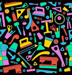 Seamless pattern with image sewing and hobby tools vector