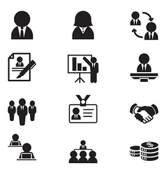 Silhouette human resource staff management icons vector image vector image