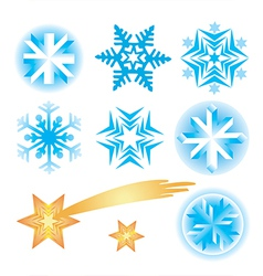 Snowflakes christmas stars vector