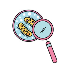 study of bacteria with magnifying glass vector image